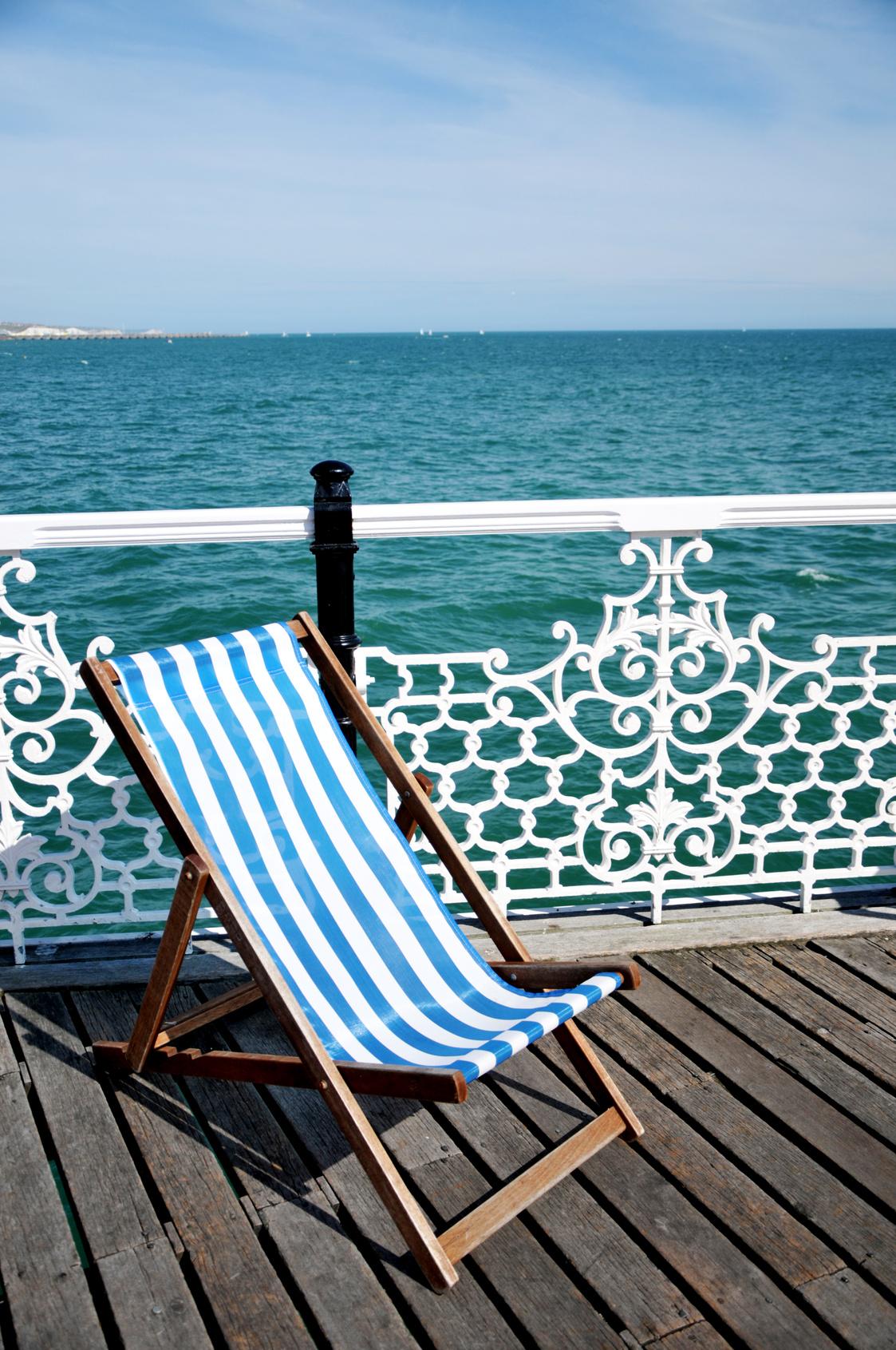 Deckchair weiß-blau