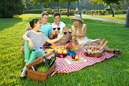 Vier Freundestoßen bei einem Picknick im Park an