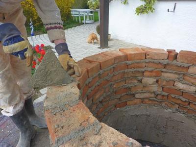 Schachtbrunnen mit gemauerter Wand