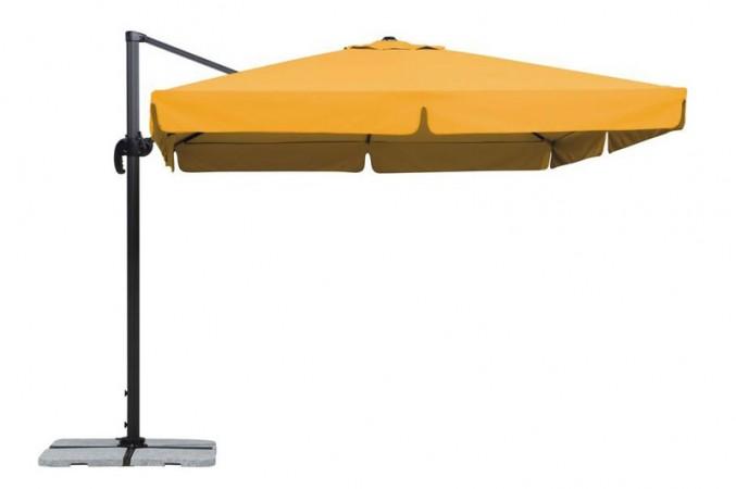 Orangefarbener Ampelsonnenschirm mit viereckiger Bespannung