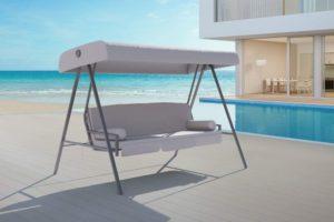 OUTFLEXX 3-Sitzer Hollywoodschaukel, grau/anthrazit, Stahl/Polyester, 233x135 cm, mit Liegefunktion