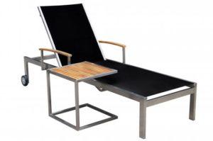 OUTFLEXX Rollliege, schwarz, Edelstahl/Textilene, mit Gasfeder, 195,5x74x35cm