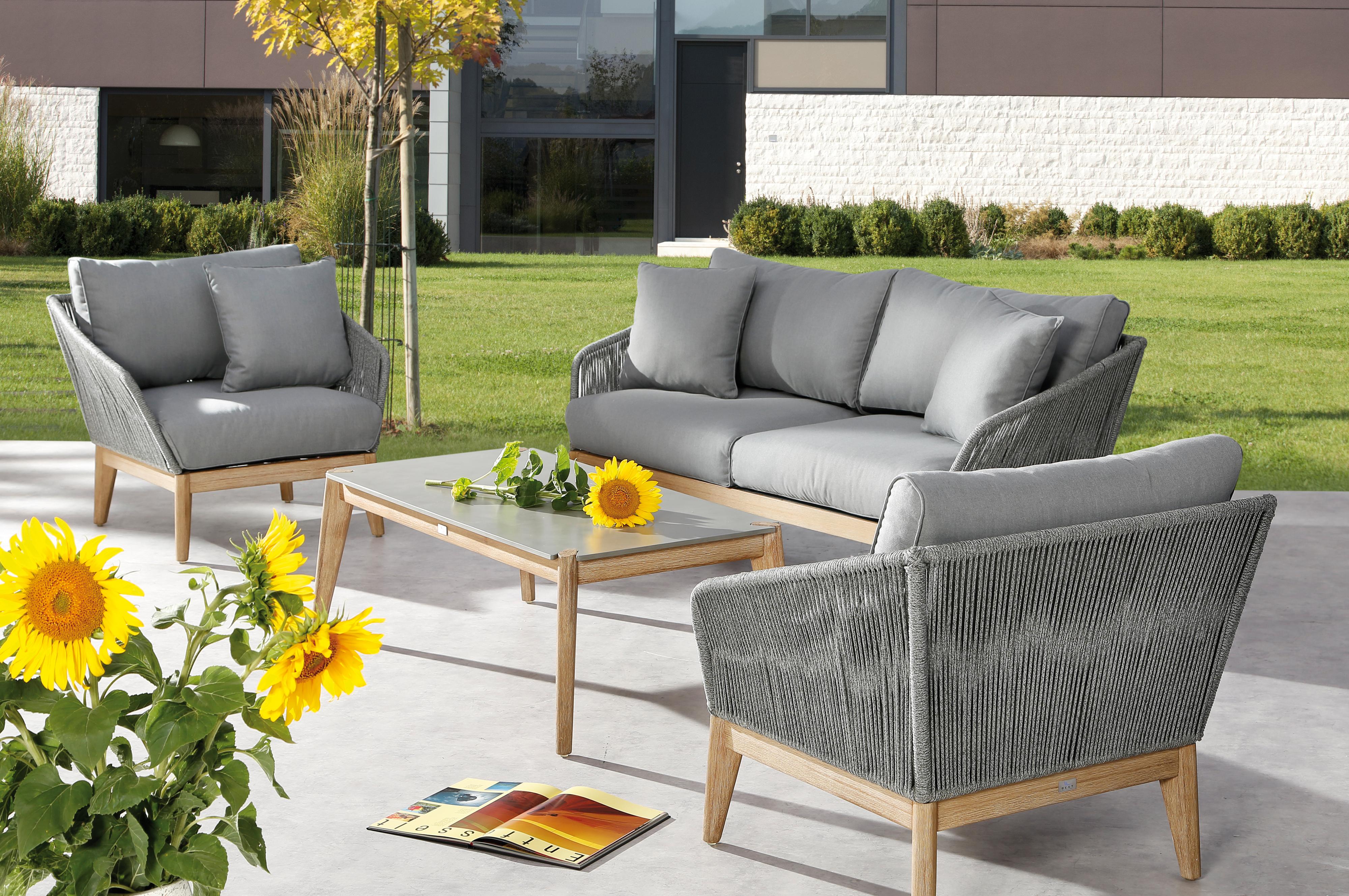 OUTFLEXX Oranger Blossom Lounge-Set, anthrazit, Alu/Rope, 4-teilig
