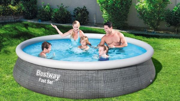 BESTWAY Fast Set Pool, grau (Rattanoptik), TriTech, Ø 396 x 84 cm, mit Filterpumpe, selbstaufbauend