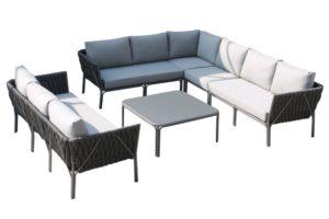 Mermaid Lounge-Set, anthrazit, Alu/Rope, 6-teilig, inkl. Sitz- und Rückenkissen